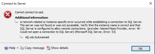 MS SQL Server Cannot Connect To Server_Name Hatası Çözümü