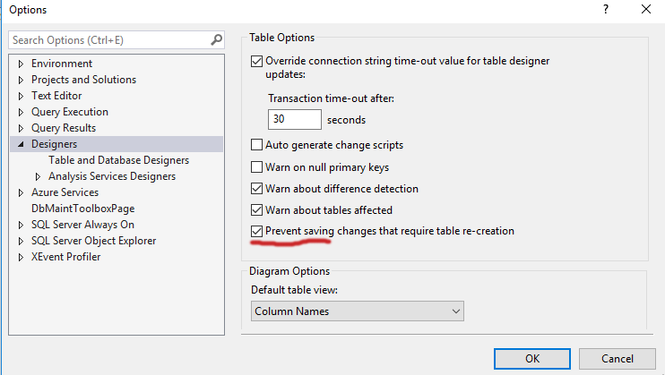 saving changes is not permitted sql server hatası