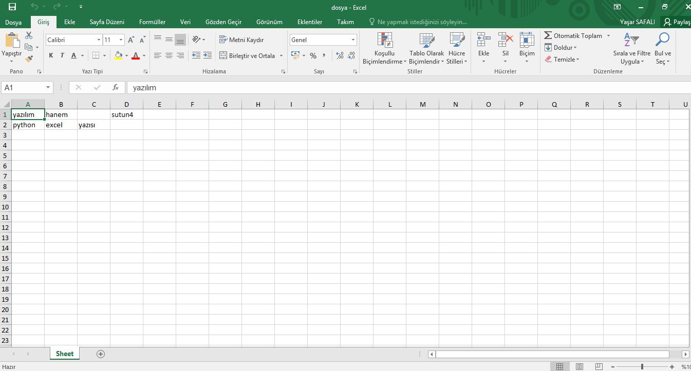 Python Excel Dosya İşlemleri